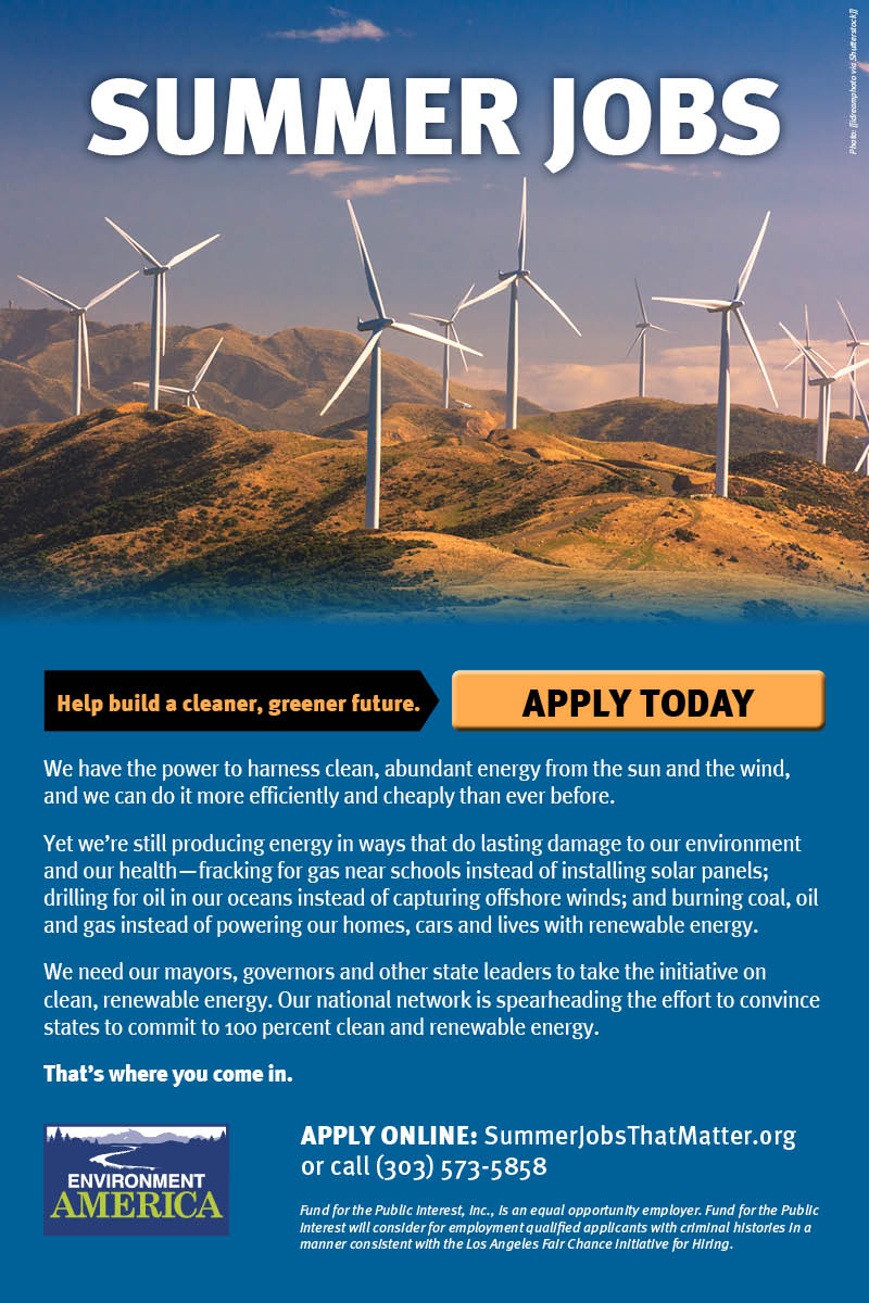 Summer jobs to help build a greener, cleaner future. APPLY TODAY.