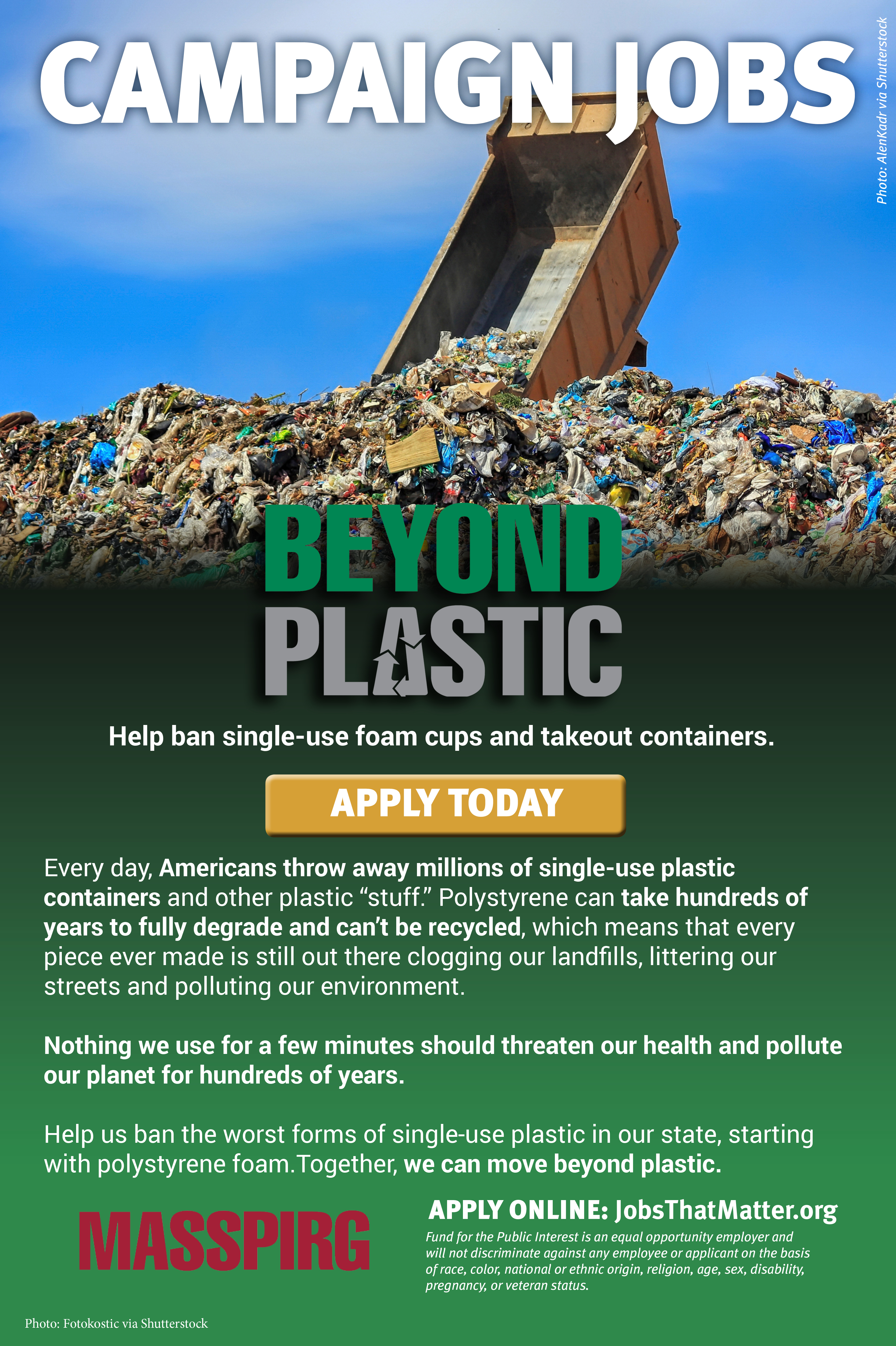 Campaign jobs to reduce plastic pollution. APPLY TODAY.