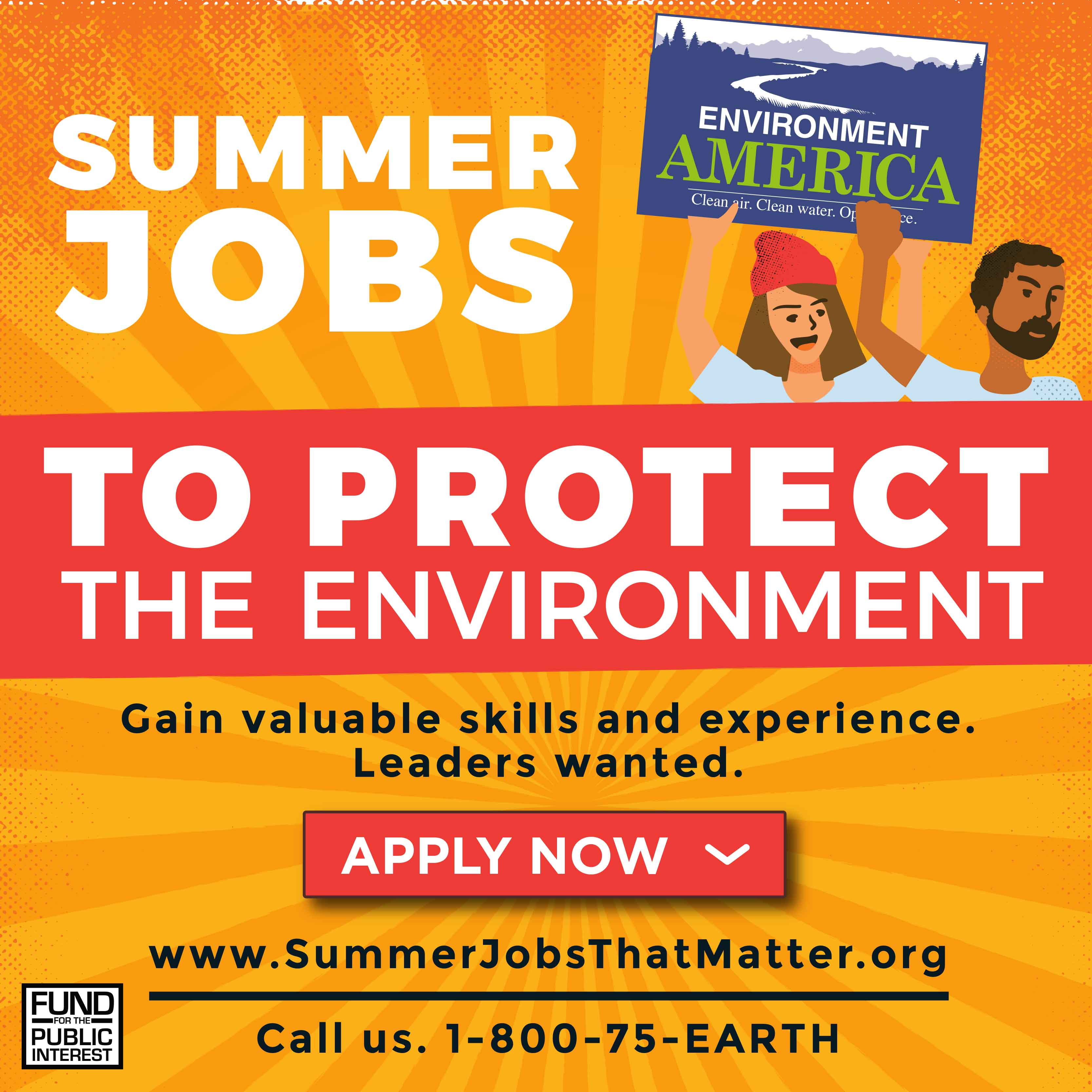 SUMMER JOBS TO PROTECT THE ENVIRONMENT