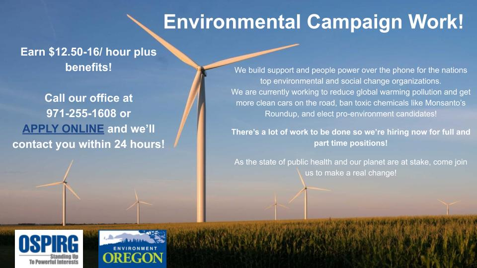 Work With Environment Oregon to Save the Planet