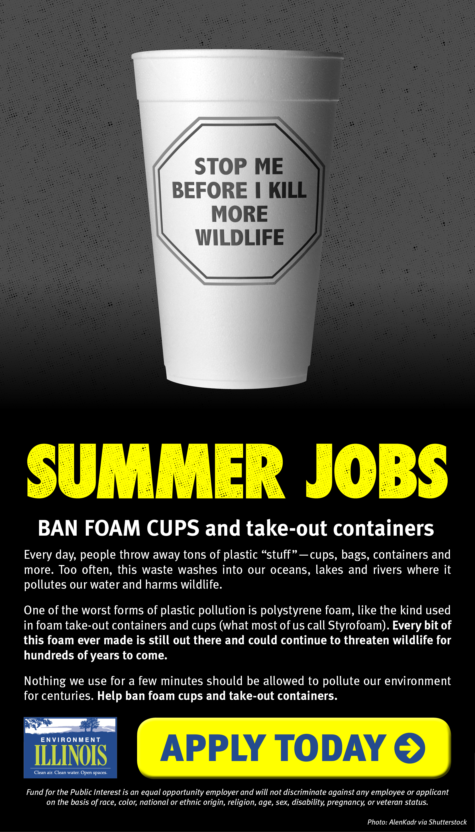 Summer Jobs: Ban foam cups and takeout containers