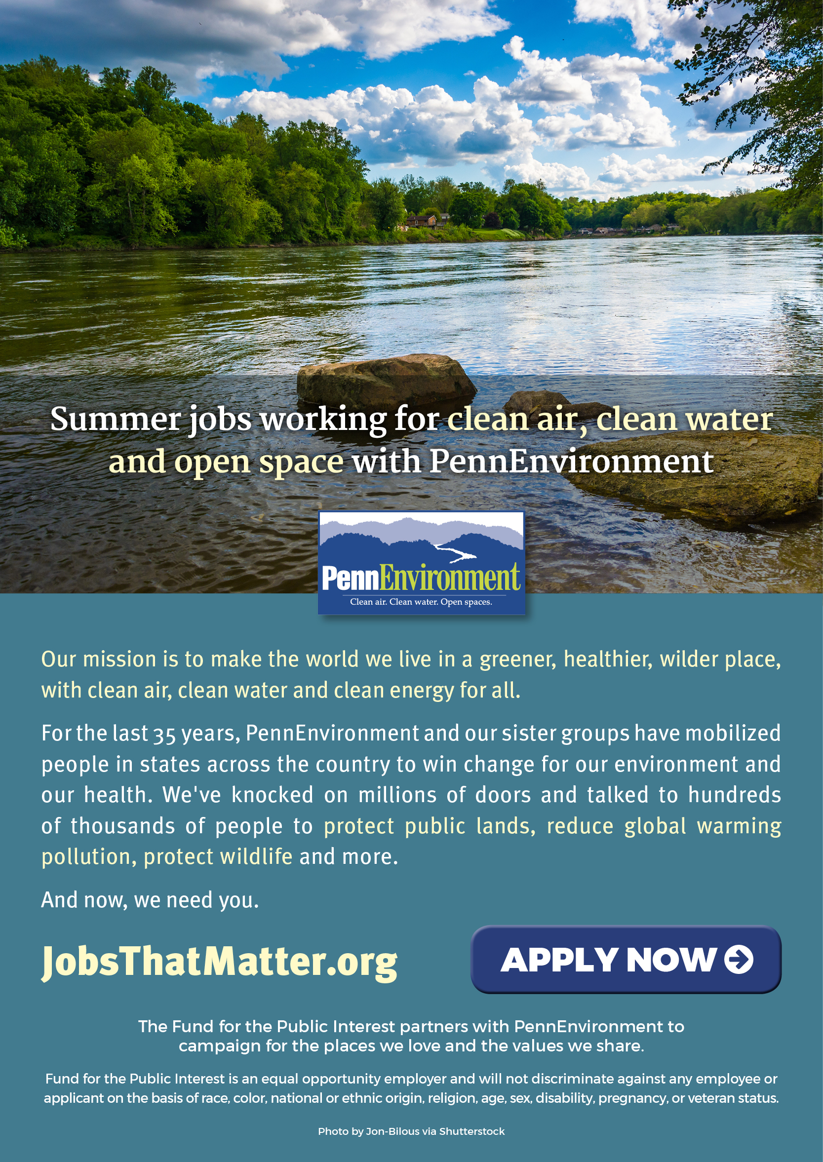 The Fund for the Public Interest partners with Environment America to campaign for the places we love and the values we share.